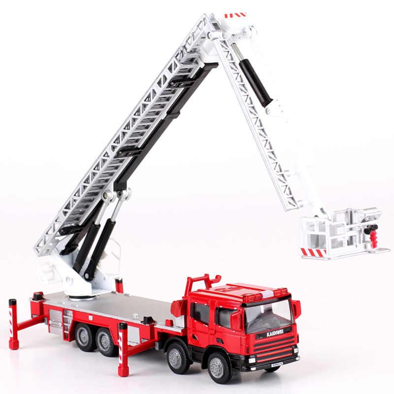 Alloy Diecast Ladder 119 Tinggi Truk Pemadam Kebakaran 1:50 Aerial Ladder Simulasi Lift Teleskop 360 Derajat Rotasi Model Mobil Mainan Anak