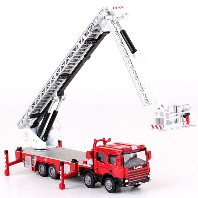 Liga diecast escada 119 alta caminhão de bombeiros 1:50 escada aérea elevador simulação telescópio 360 graus rotação modelo carro crianças brinquedos