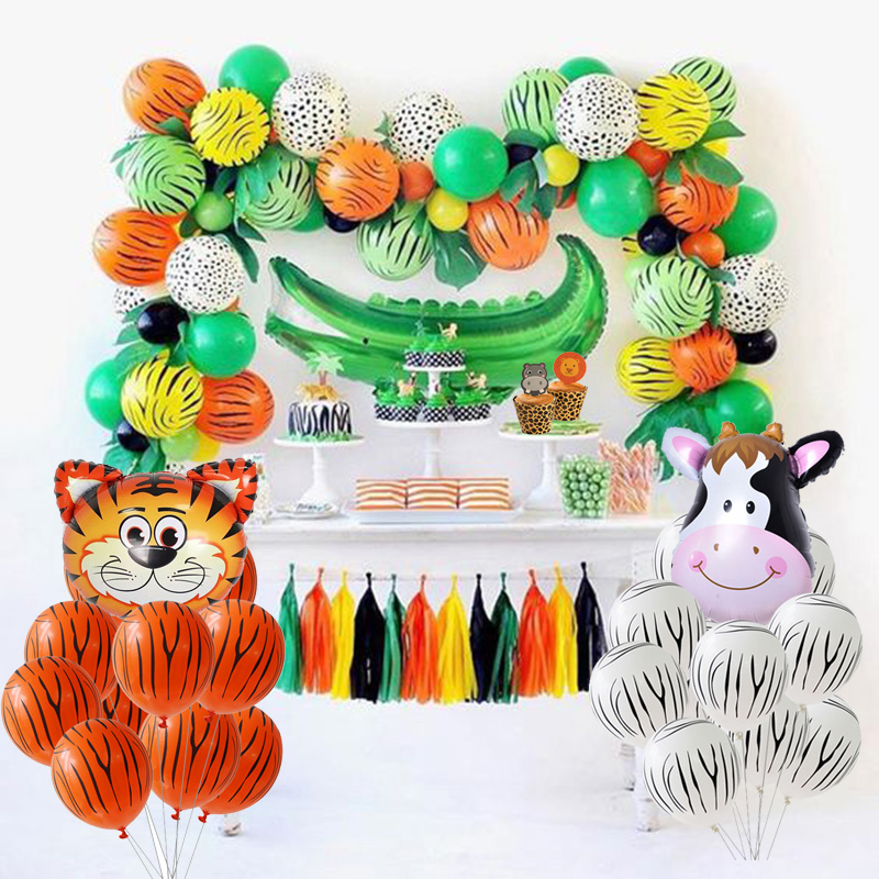 Image 5 - Jungle Party Animal Tableware Green Number Balloons Cupcake Toppers Wild One First Birthday Kids Baby Shower Safari Party Supply-in Party DIY Decorations from Home & Garden
