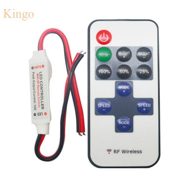 mini dc 12 v led controller dimmer 6a draadloze rf afstandsbediening om enkele kleur strip verlichting 3528 5050 led strip in mini dc 12 v led controller