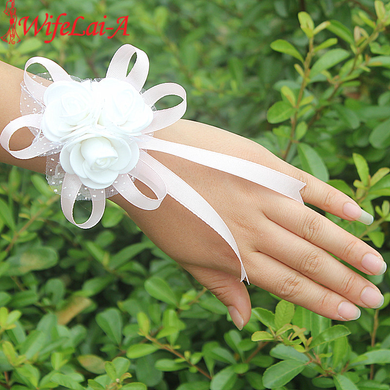 Wifelai-a PE Rose Flowers Ribbon Bride Wrist Flowers Bridesmaids Silk Lace Hand Flowers Wedding Corsages Many Colors
