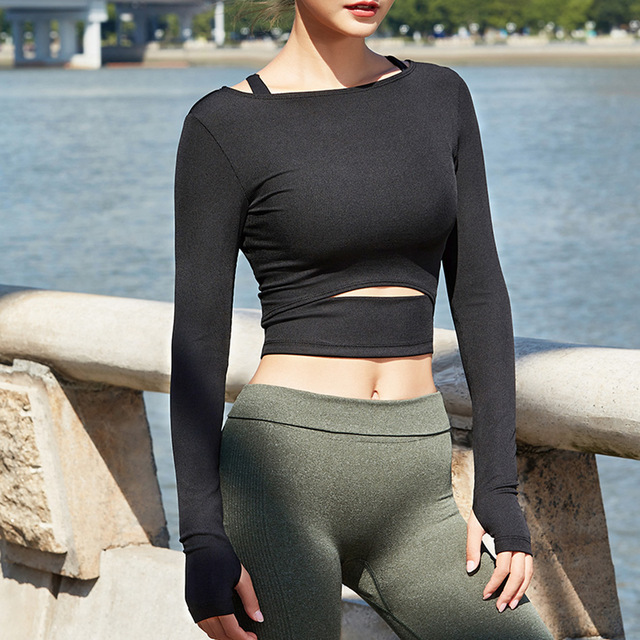 Women Gym White Yoga Crop Tops Yoga Shirts Long Sleeve Workout Tops Fitness Running Sport T-Shirts Training Yoga Sportswear Sexy 2