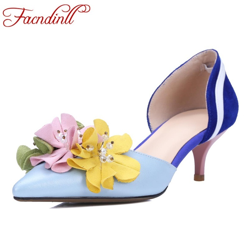 FACNDINLL brand design flowers leather women pumps new fashion high thin heels pointed toe shoes woman dress party wedding shoes brand shoes woman spring summer rainbow women pumps high heels fashion sexy slip on pointed toe thin heel party wedding shoes