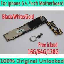 Для iphone 6 4,7 дюйма материнская плата с сенсорным ID, оригинальная разблокированная материнская плата для iphone 6 с системой IOS + чипы, черный/белый/золотой
