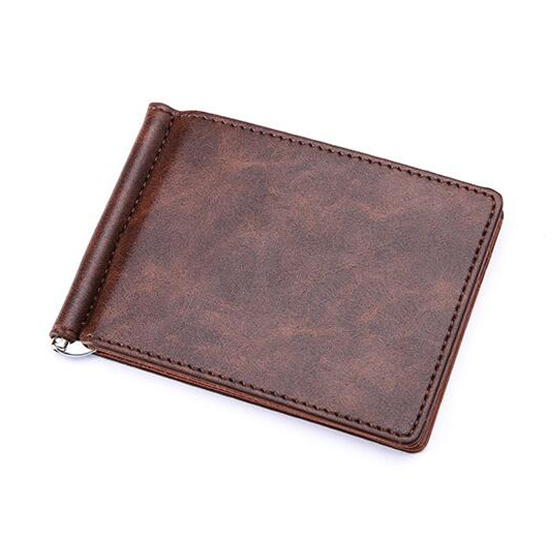 New Brand Solid Simple Mini Men's Leather Wallet Money Clip With Metal Clamp Slim Purse Card Slots Cash Holder For Man