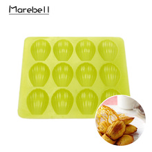 лучшая цена Marebell Silicone Mold 12 Mini Shell Canneles Pan DIY Chocolate Jelly Pudding Cake Mold Cupcake Baking Cake Mold