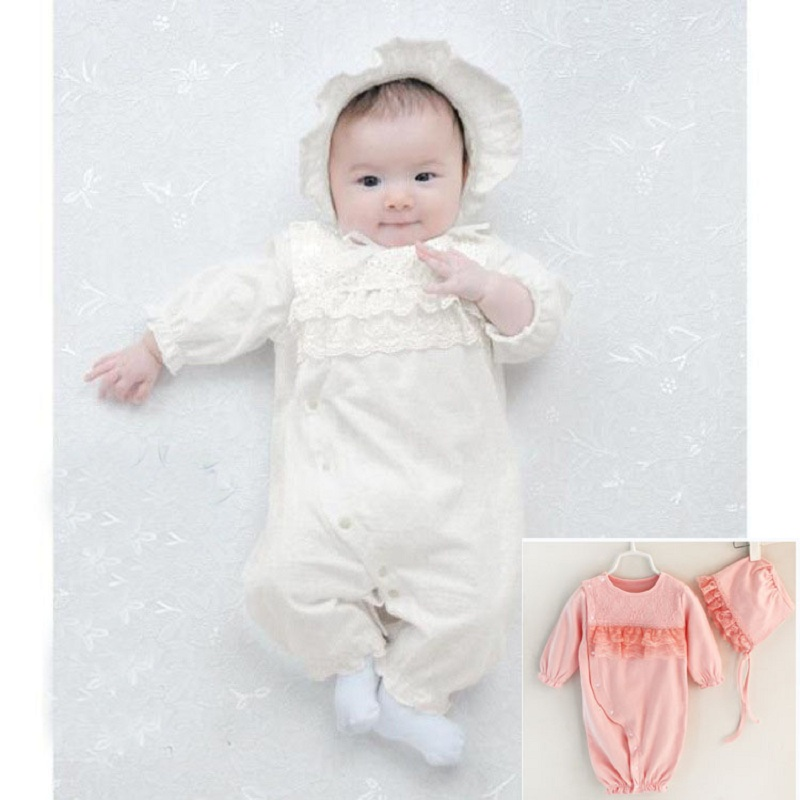 Baby Lace Rompers 2 Pieces Set New Infant Princess Style Party Dress Bebe Clothing Coveralls Newborn Baby Girl Winter Clothes newborn baby girl clothes air cotton winter thicken coveralls rompers princess lace infant girls clothing set jumpsuit hats