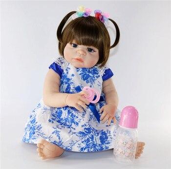 "Bebe doll reborn 23""57cm full silicone reborn girl baby dolls toys gift bonecas reborn corpo de silicone"