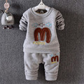 2016 new fashion long sleeve letter print t-shirt +pant baby unisex clothing sets for autumn winter thick baby clothing