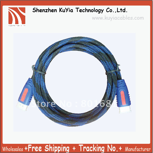 KUYiA Free Shipping+tracking number 1080P 1.5meter HDMI 1.3v CABLE FOR LCD HDTV DVD PS3