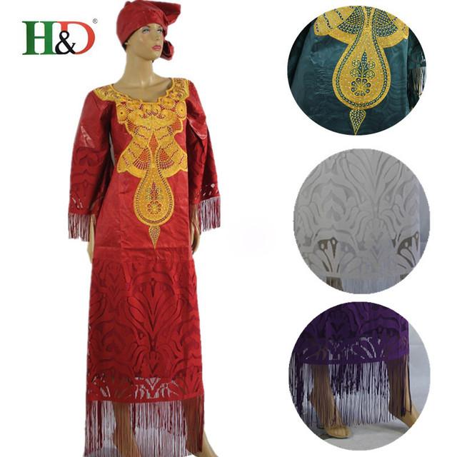 (Envío Libre) 2017 Nuevo estilo Musulmán ropa Africana bazin riche dreess vestido de mujer decoración de la borla de algodón 100% riche S2552