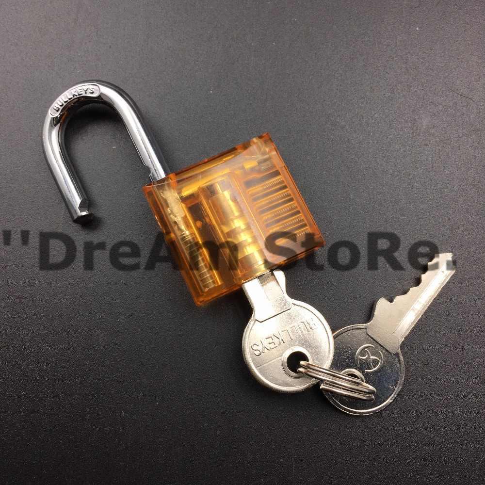Small Size Hot Pick Orange Transparent Cutaway Inside View Padlock Lock For  Locksmith Practice Training Skill