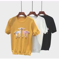 2018 Summer Thin Knitted Top Tees Short Sleeve Tshirt Women O Neck Beading Luxury Brand T Shirt Designer Tops Camiseta Feminina