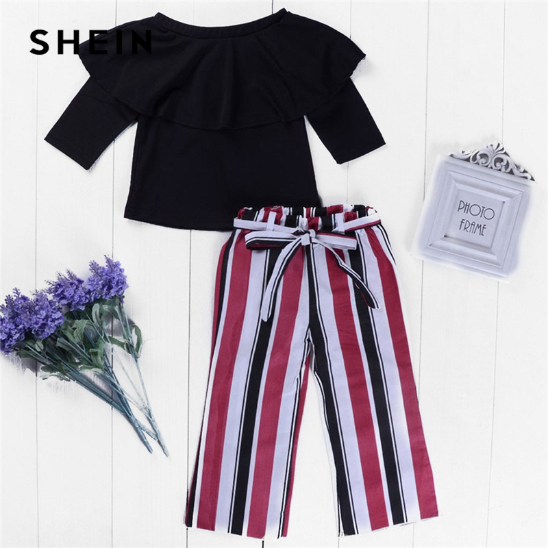 Фото - SHEIN Kiddie Toddler Girls Ruffle Blouse With Striped Pants Two Piece Set Kids Clothing 2019 Spring Long Sleeve Children Clothes shein kiddie girls white striped side casual top and shorts two piece set clothes sets 2019 spring long sleeve kids suit set