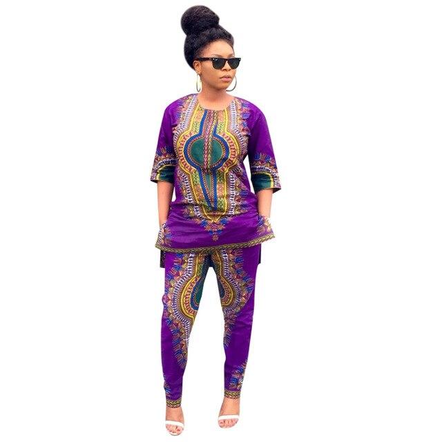b4700066e38 African Hot Sale 2016 Fashion Design Women Suit 2 Piece Set Purple  Traditional African Clothing Print Dashiki Long Lady Set