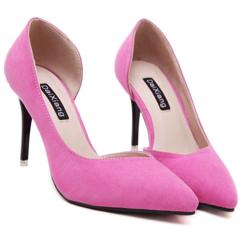 sandals ladies single shoes Korean Vintage Suede spring summer pointed toe solid high heels shoes nightclub women pump thin heel