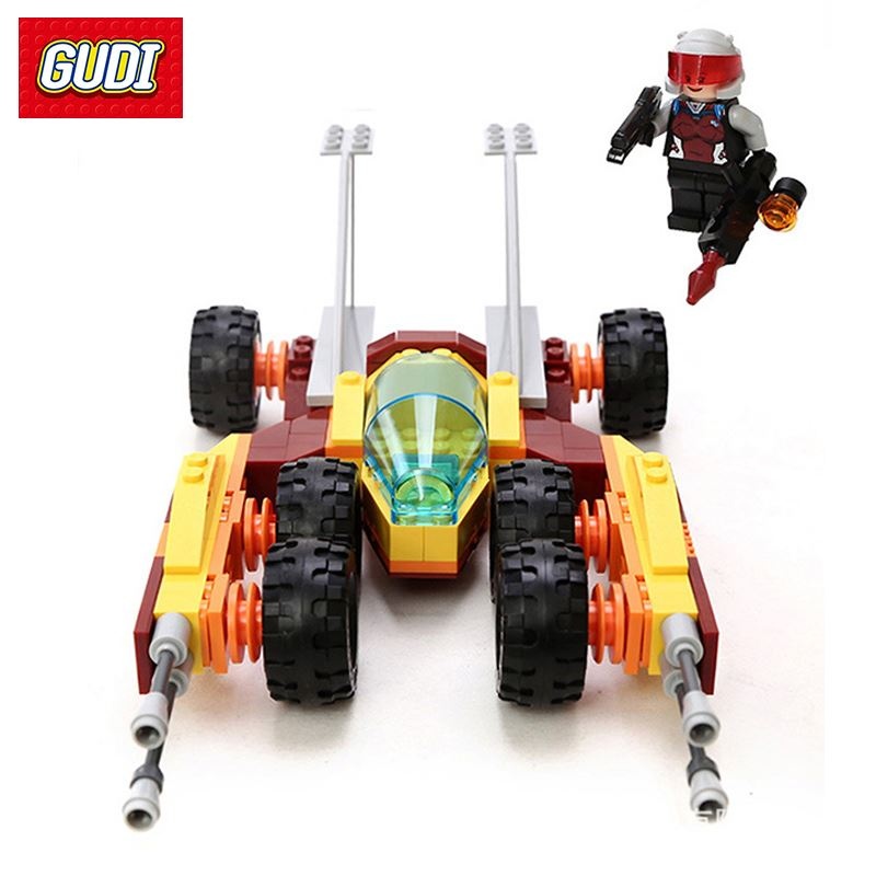 Fire Assault Vehicle GUDI Building Blocks Soilder Earth Border Series DIY Assembly Bricks Gift For Children