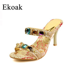 Ekoak 2016 New arrived women High Heel rhinestone Sandals party wedding shoes fashion thin heels Slippers L10