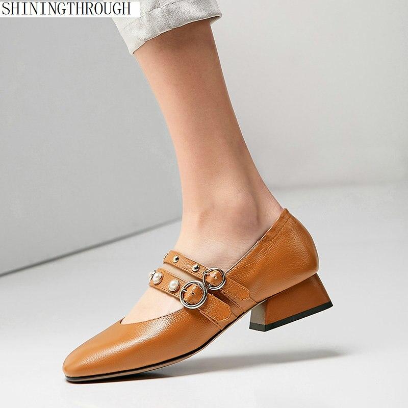 2019 New low heels Genuine Leather Women Pumps square Heel Classic black brown beige Wedding Shoes