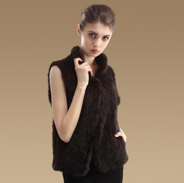 YCFUR модные женские жилеты, зимние теплые вязаные жилеты ручной работы из натурального меха норки, женский жилет из настоящей норки - Цвет: brown