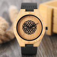 All Match Bamboo Watch Cool Geometry Lines Flower Dial Soft Leather Strap Casual Men Women Wooden