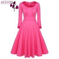 ACEVOG Autumn Winter Dress 2018 Women Ladies Elegant Floral Long Sleeve Office Casual Big Swing Dresses