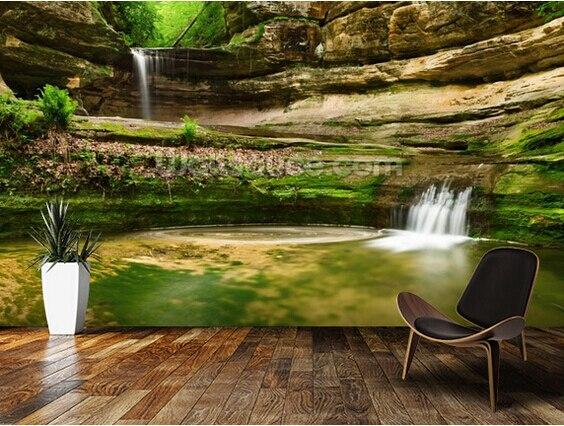 Custom Landscape Wallpaper 3d Double Waterfall Wallpaper
