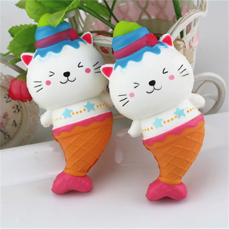 New Cute Jumbo Cat Mermaid Ice Cream Squishyed Toy Slow Rising Soft Squeeze Strap Scented Cake Bread Kid Toys Fun Gift For Kids
