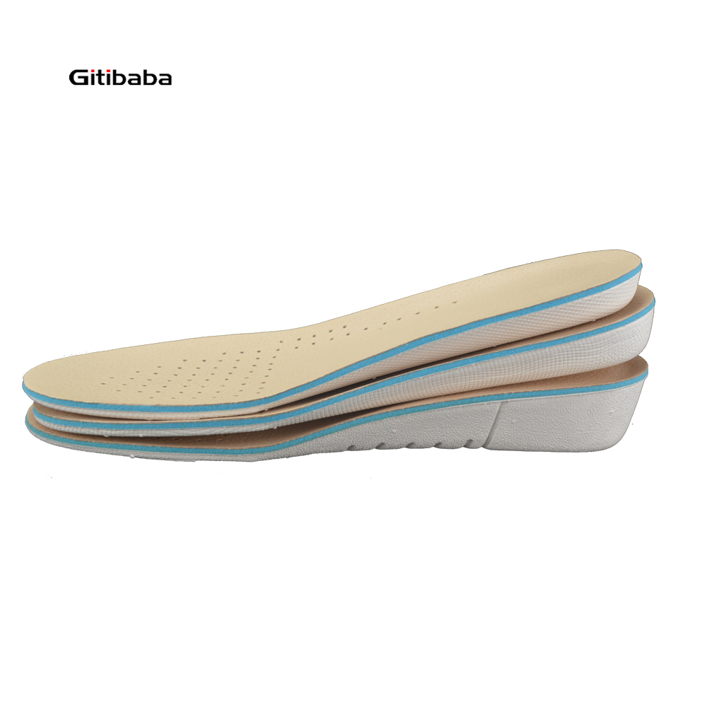 2pair/lot  leather height increase insole 1-3cm up memory form  comfortable  arch support orthopedic insoles shock absorption expfoot orthotic arch support shoe pad orthopedic insoles pu insoles for shoes breathable foot pads massage sport insole 045