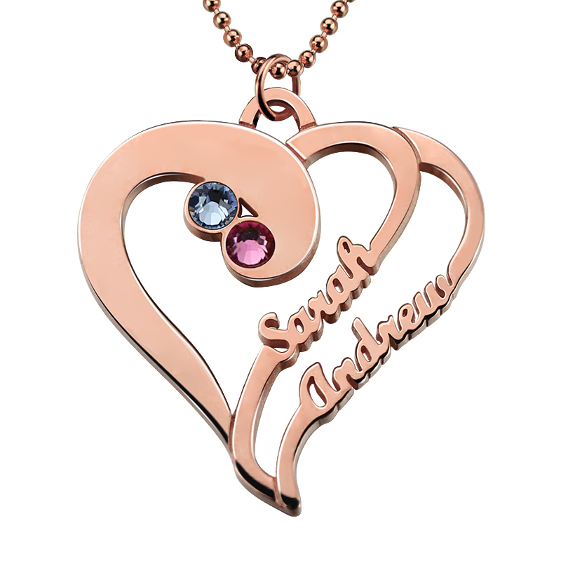 Айлин сердце ожерелье с камнями рождения Персонализированные розовое золото Цвет сердце Имя Цепочки и ожерелья пары кулон сердце подарок д...