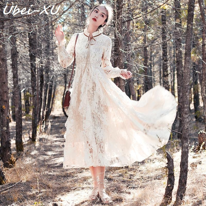 Ubei Vintage French beige lace dress Spring Autumn new style long sleeve slim flared sleeve long