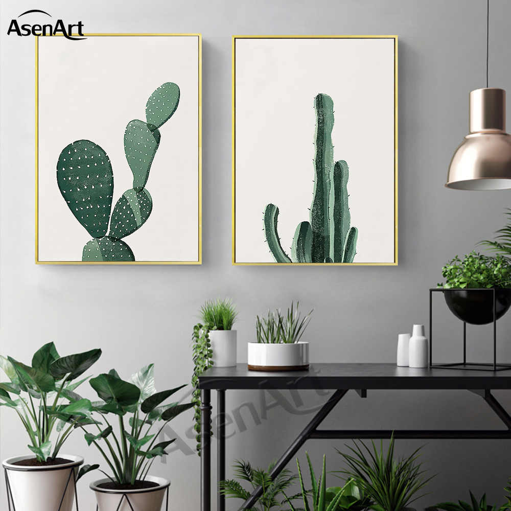 Canvas Painting  Nordic Tropical Plant Cactus Minimalist Artwork Fresh Green Wall Pictures Living Room Decor No Frame Paintings