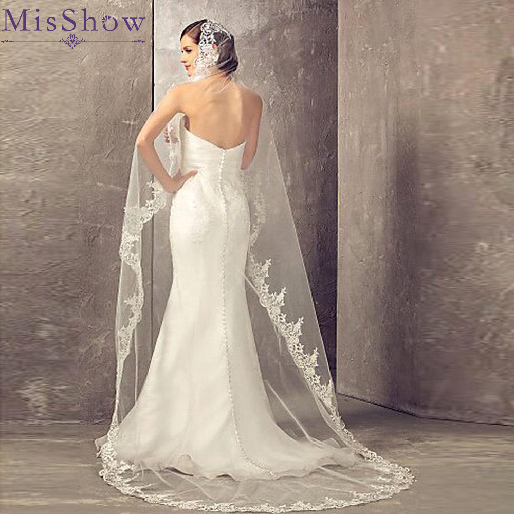 Hot Sale 2019 Wedding Veil Lace Cathedral wedding accessories White Ivory 2.7 M Cheap Long Voile Marriage Bridal Veil With Comb(China)