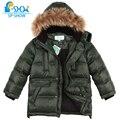 одежда для детей 6-12 лет ,куртки для мальчиков  зимняя куртка для мальчика  с бесплатной  доставкой  ,новая зимняя  коллекция  зима 2016г,детский   пуховик с капюшоном , натуральный  мех енота на капюшоне