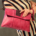 HIGH QUALITY 2017 women bag rose red stud Rivet women evening clutch leather female zipper day clutch woman wedding clutch bag