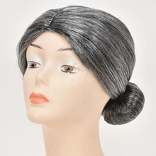 synthetic Gray Granny Grand Mother Grandma Cosplays Bun Hair Headwear Peruca Halloween Cost