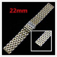 Uhrenarmband 22mm Silber & Goldene Armband Armband für Stunden Edelstahlarmband für Armbanduhr GD015022