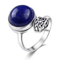high quality Leaf shape boho Bohemia Natural semi precious stones 925 Sterling silver Female jewelry Lapis lazuli retro rings