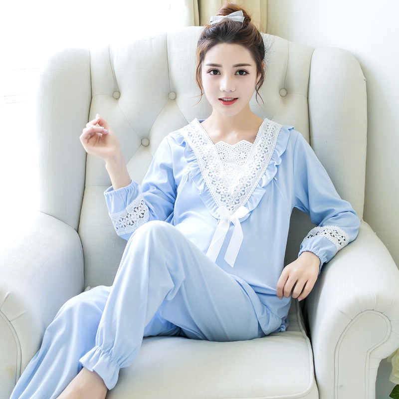 3755fab33ed12 Pengpious Postpartum Women Breastfeeding clothes Set Cotton Hollow Out Lace Long  Sleeve Patchwork V-neck