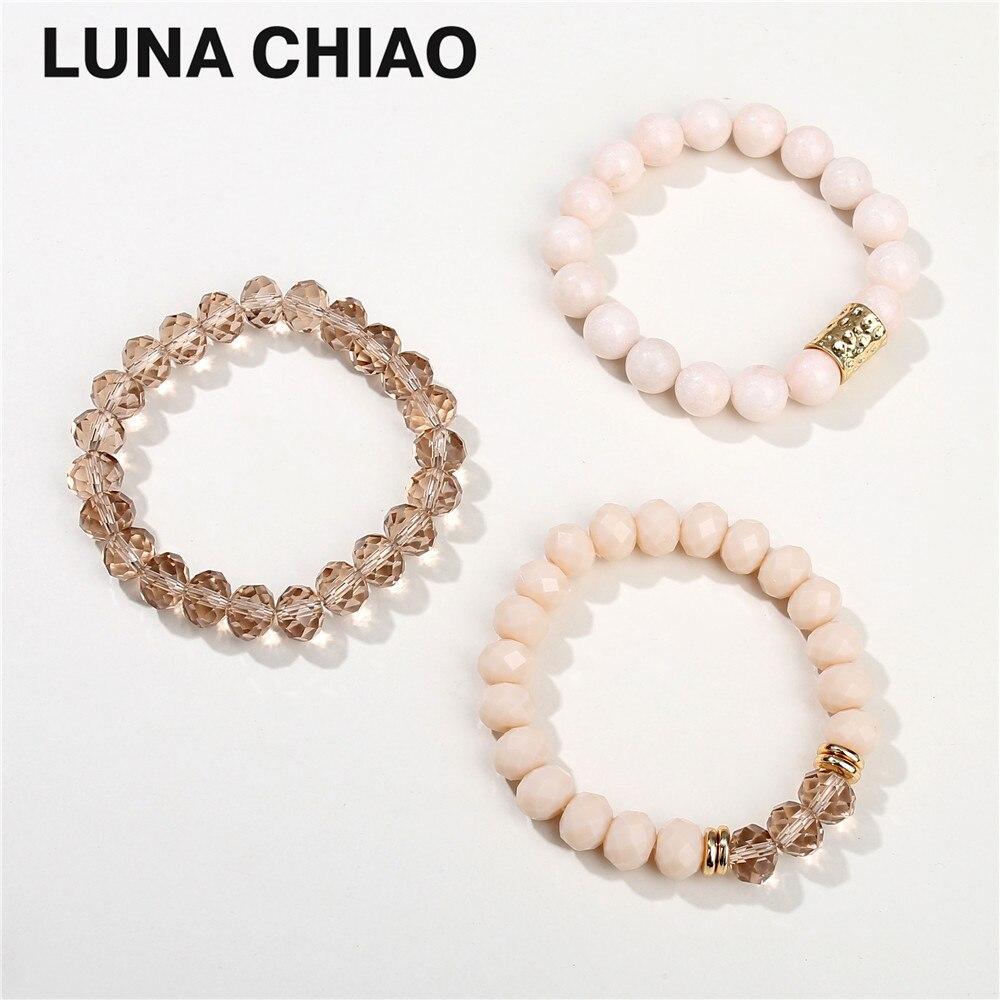 Girls Blush Glass Crystal Semi Precious Natural Stone Beads Strand Stacked Bracelet Set for Women