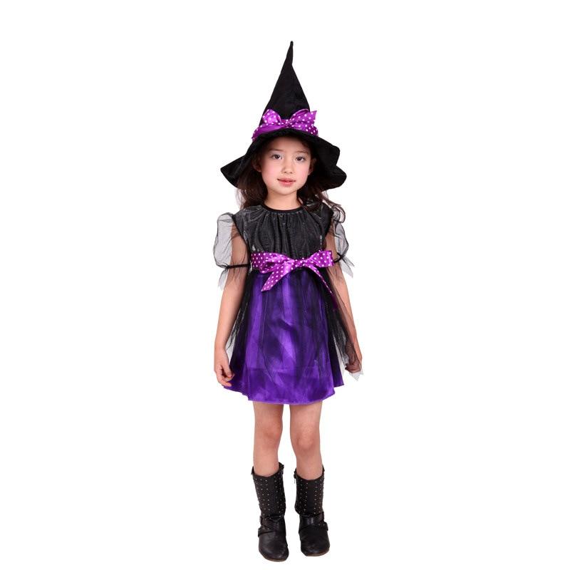 comprar new kids girls purple witch cosplay disfraces de halloween para nios vestido de los cabritos sombrero ropa fantasia infantil