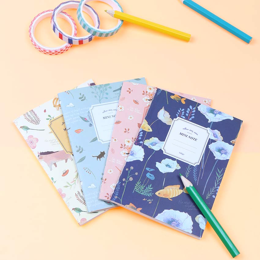 4PCS/set Beautiful Flower Birds Notebook Diary Book Notepad Kawaii Stationery School Supplies Gift For Students Papelaria