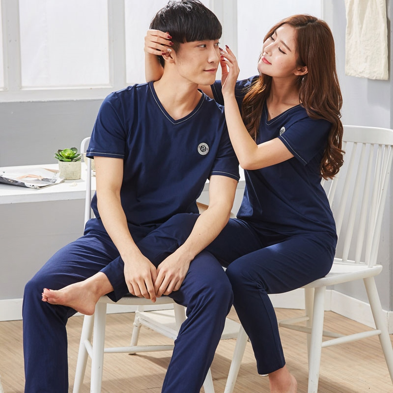 Women's Pajamas in summer Short sleeve Cotton sleepwear trousers  pyjamas Couple lovers Men Sleep Lounge Pajama Set