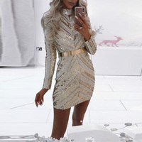 Embroidery Gold Sequined Party Dress Women Long Sleeve Turtleneck Elegant Sheath Mini Dress Formal Outstanding Sparkly Dress