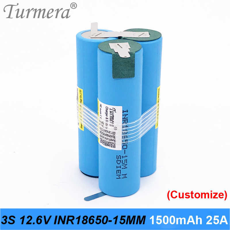 original battery 18650 15M inr18650-15MM 1500mah 25A 10.8v 12.6v battery 18650 pack for screwdriver tool battery customized pack