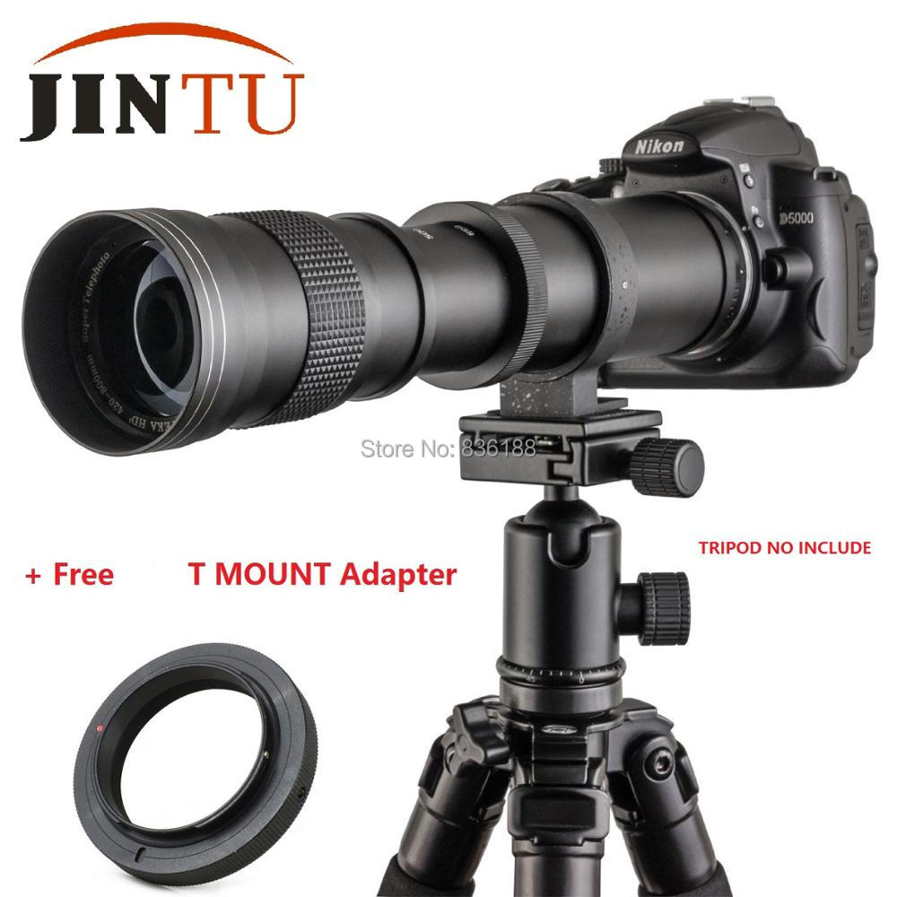 JINTU 420-800mm F/8.3-16 67mm Super Telephoto Manual Zoom Lens+T2 Adapter for Nikon Canon EOS Sony Pentax M4/3 DSLR Cameras +Bag jintu 900mm f 8 mirror super tele manual fix focus lens for sony alpha a900 a700 a300 a200 a100 dslr camera