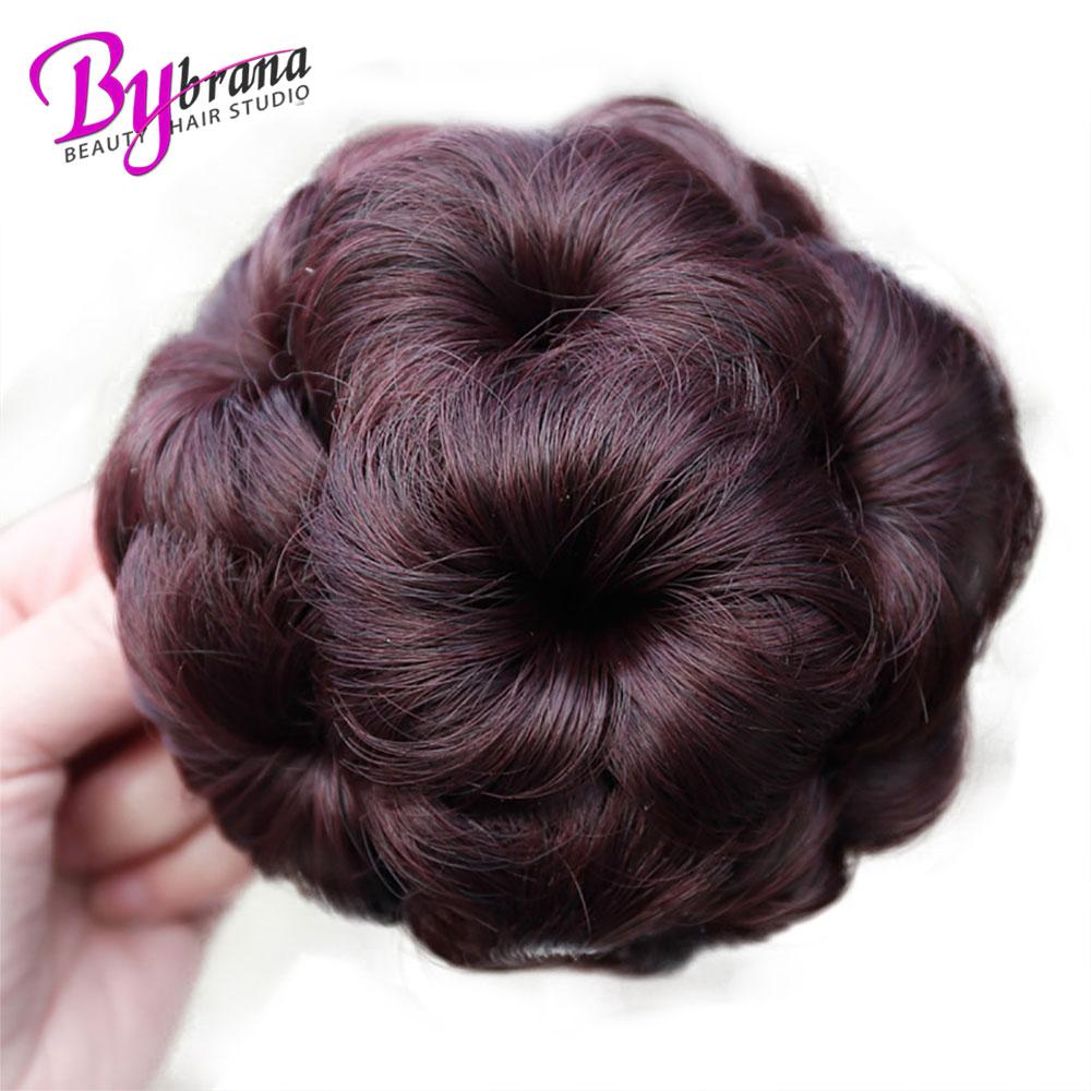 Hair Extensions & Wigs Chignon Bybrana Brazilian Afro Hair Piece Remy Hair Chignon 4 Colors Bun Donut Chignon Clip In Hairpiece Hair Extension Bun For Women