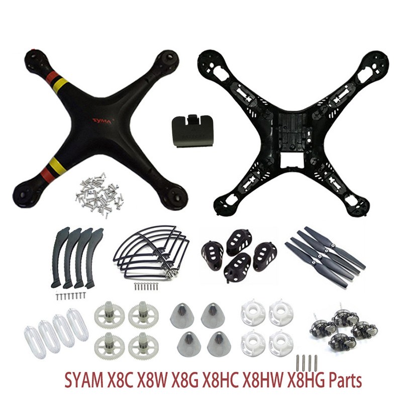 SYMA X8/X8C/X8W/X8G/X8HC/X8HW/X8HG Plastic Parts Main Body Shell Cover And Gear Propeller Protective Frame Landing Gear ect. syma x5hc x5hw spare parts shell motor propeller main blade landing gear kit protection ring frame rc drone accessory