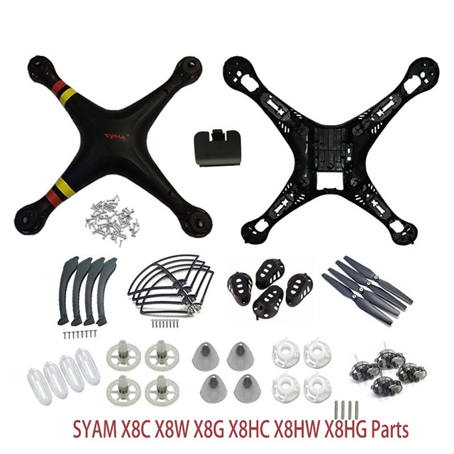 SYMA X8/X8C/X8W/X8G/X8HC/X8HW/X8HG Plastic Parts Main Body Shell Cover And Gear Propeller Protective Frame Landing Gear ect.