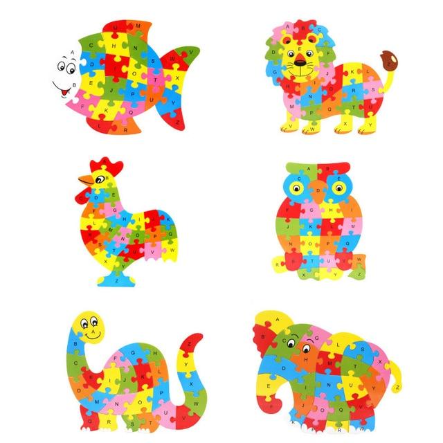 Sperrholz Spielzeug Niedlichen Tiere Förmigen Alphabet Puzzle